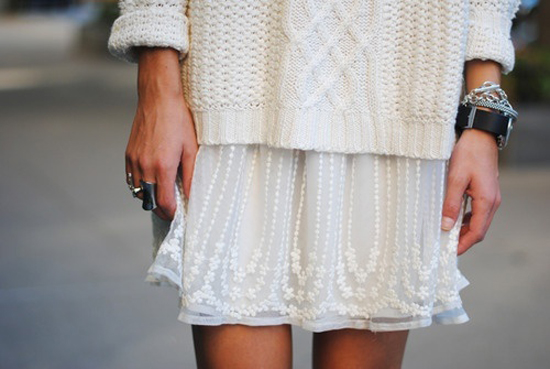 white on white, knits, ivory, sweater