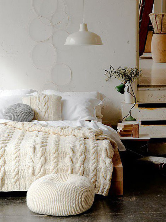cable knit, pillow, bedroom, blanket
