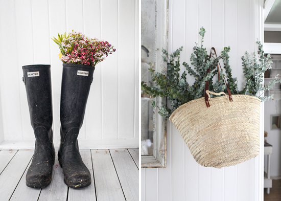 hunter boots, flowers, eucalyptus, garden