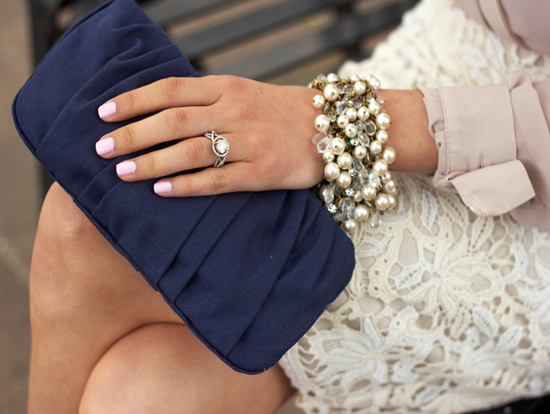 elegant, clutch, lace, bracelet, pale pink nails, nail polish