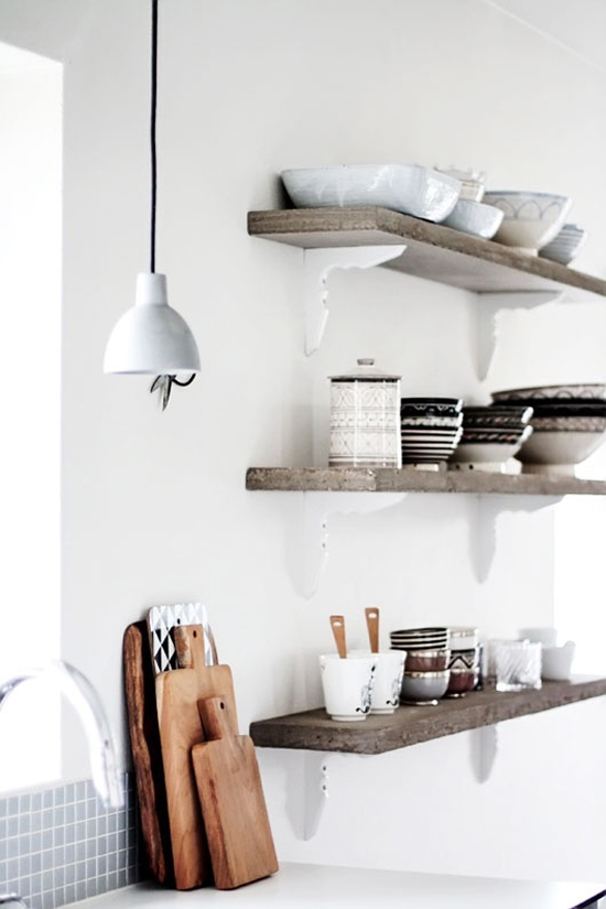 cutting boards, rustic open shelves