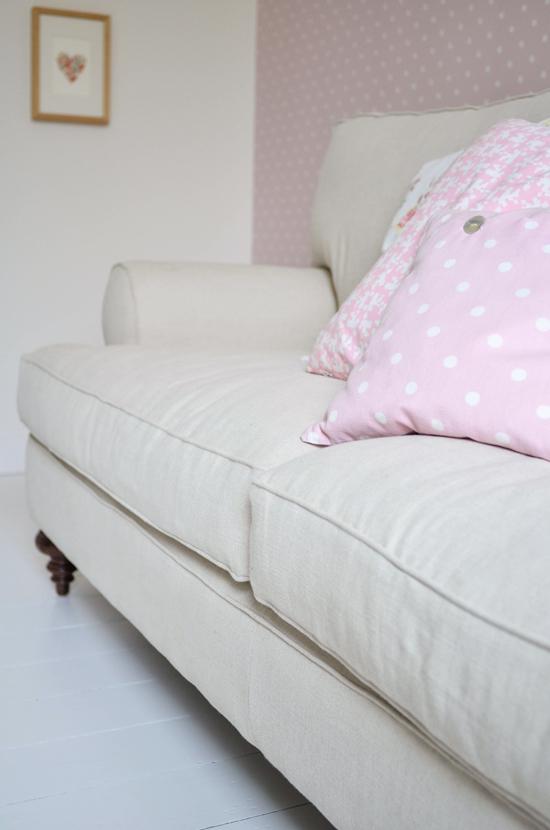 reupholstered sofa