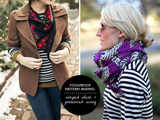 striped shirt and patterned scarf