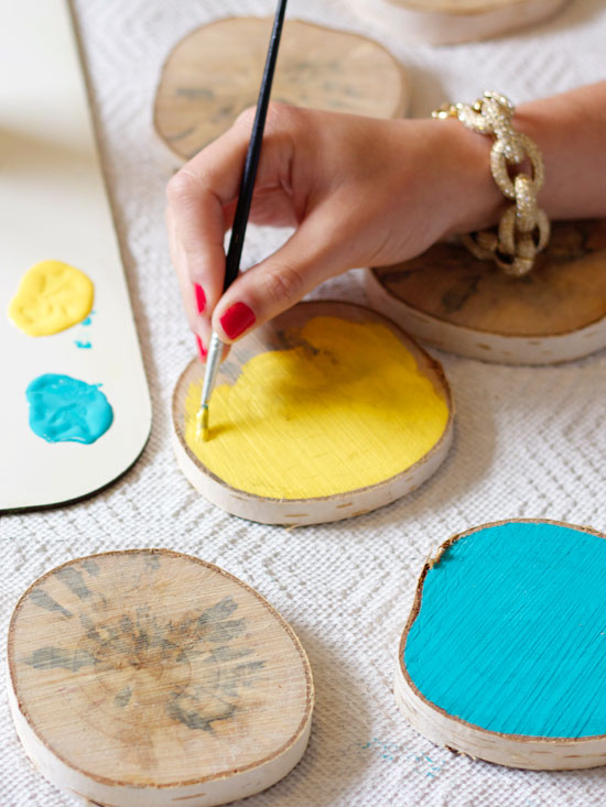 Easy diy wood round coasters at home in love for Homemade coaster ideas