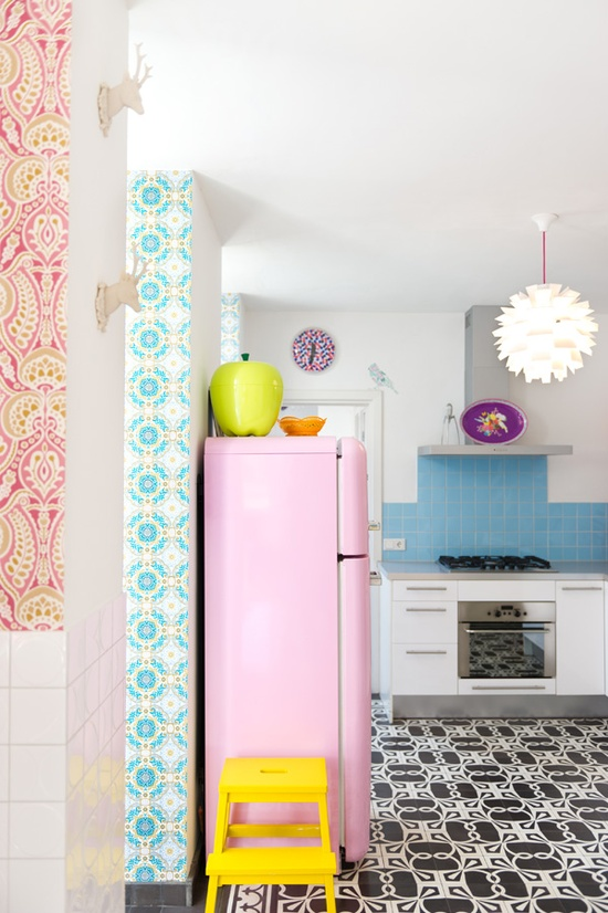 mixed pattern kitchen