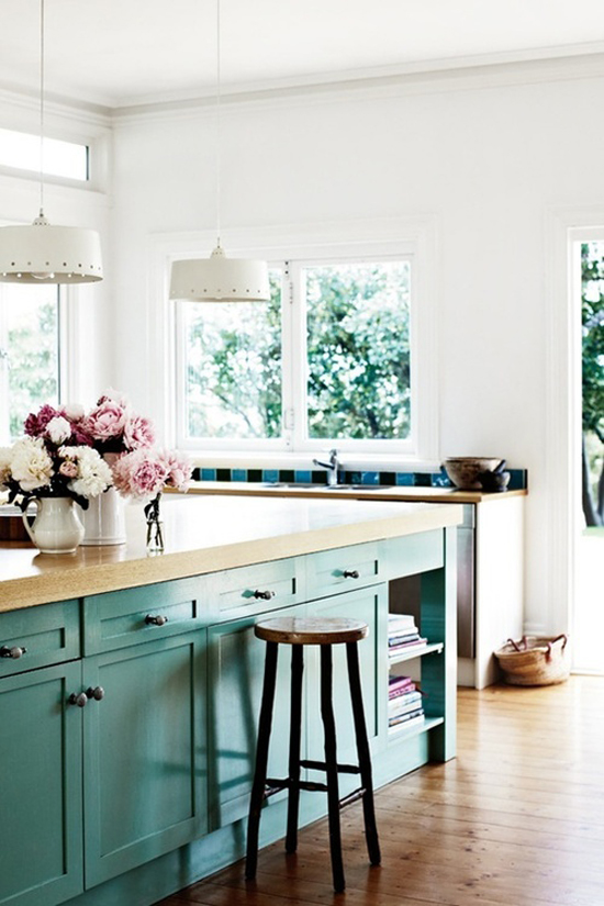 with white cabinets either I think this teal island is soo pretty