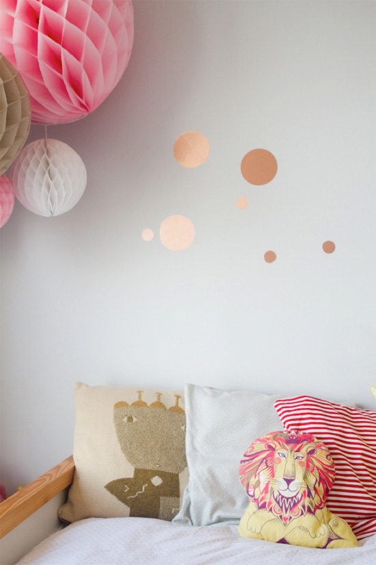 Cut dots out of copper contact paper and put them on the wall!