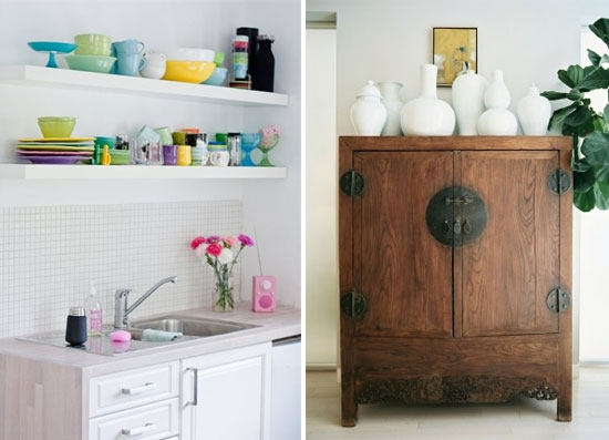 Display things in collections so they serve as both storage & decor