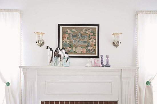 Mantel--love the feathers in mason jars