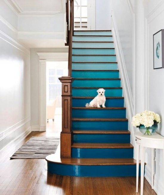 Wooden Stairs With Painted Stripes Updating Interior: Step Up Your Stairs