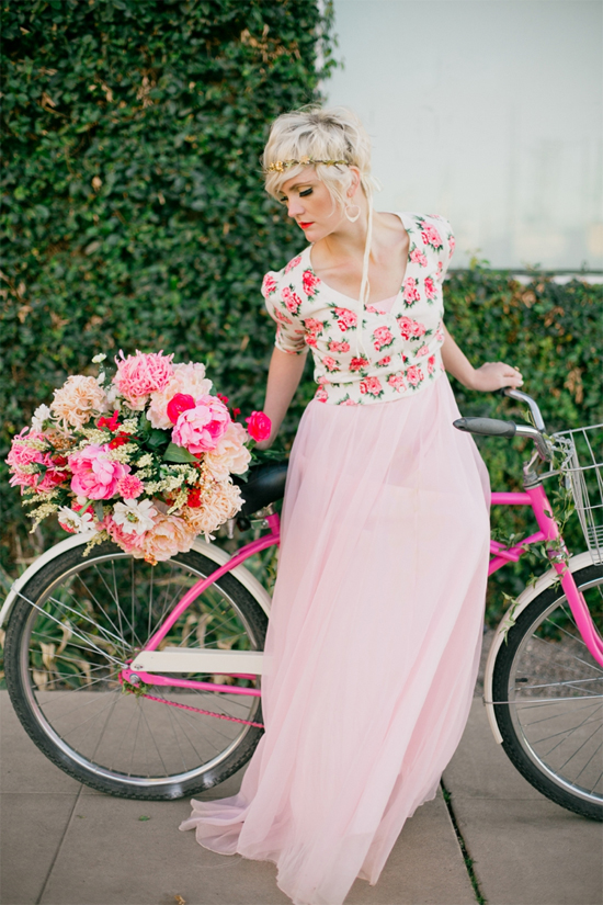 Pink bicycle shoot--the dress is a vintage prom dress with a cardigan on top!