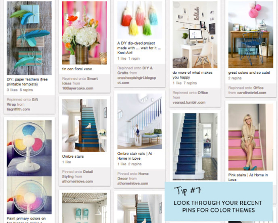Look through your recent pins for color inspiration