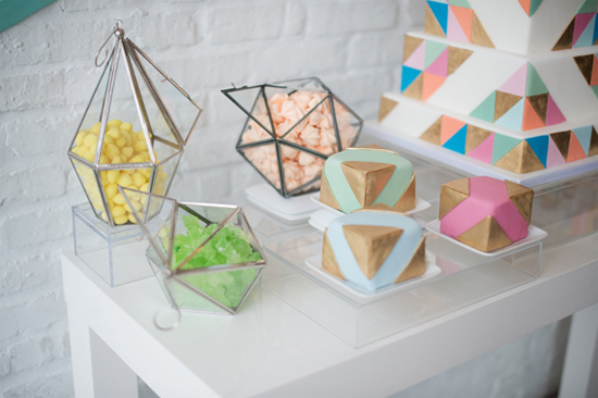 Faceted terrariums as candy jars (cute!)