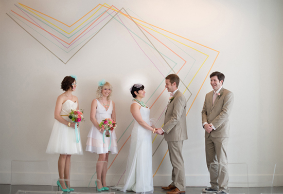Washi tape ceremony backdrop--inexpensive, but looks awesome!