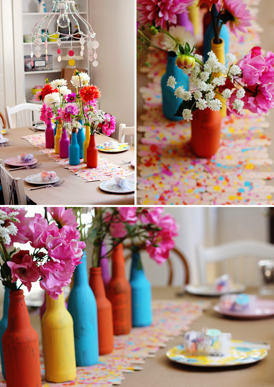 """About to pop"" baby shower with lots of bright colors & painterly details"