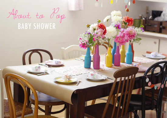 """About to pop"" baby shower ideas"