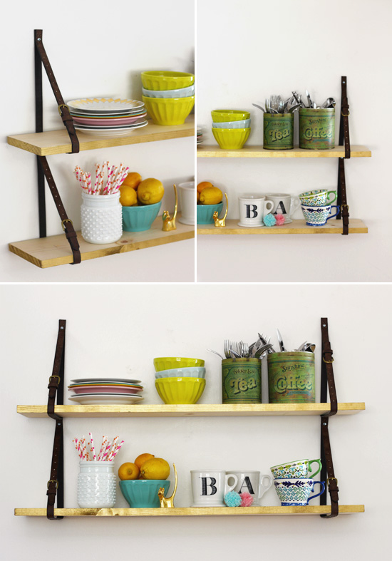 DIY shelves held up my belts!