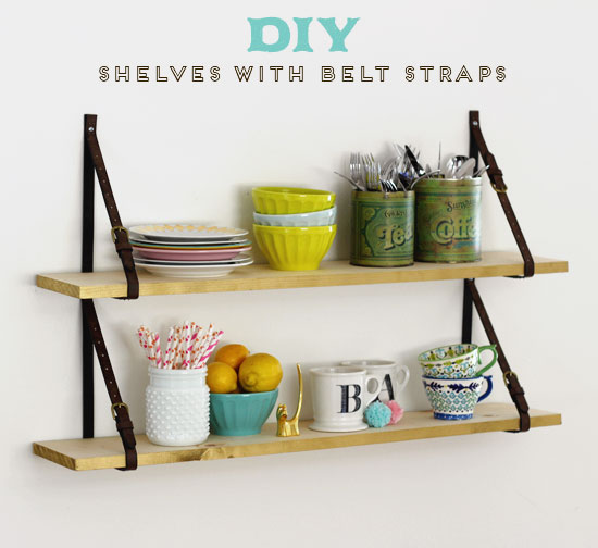 DIY shelves with belt straps | At Home in Love