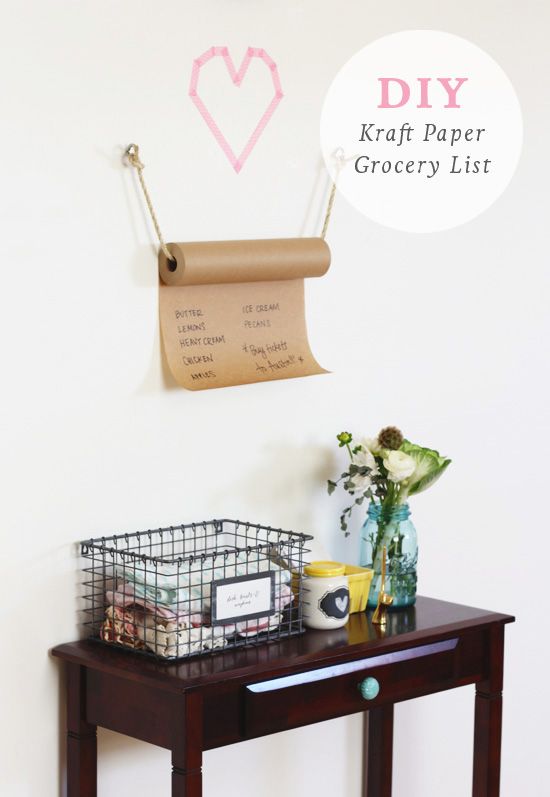 DIY kraft paper grocery list | At Home in Love