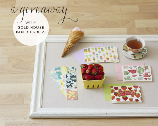 A giveaway with Gold House Paper + Press!