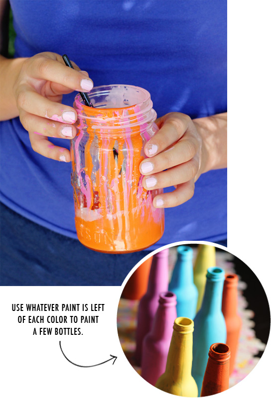 Splatter paint runner & painted soda bottles for vases