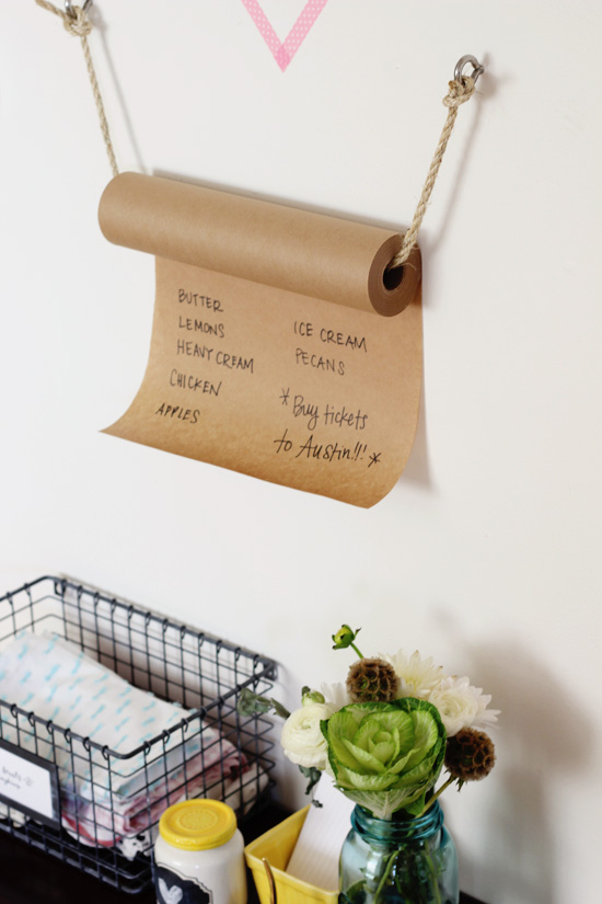 Rope + kraft paper grocery list