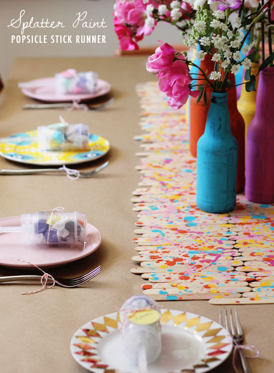 Splatter paint popsicle stick runner | At Home in Love