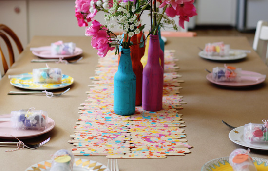 Splatter paint popsicle stick runner