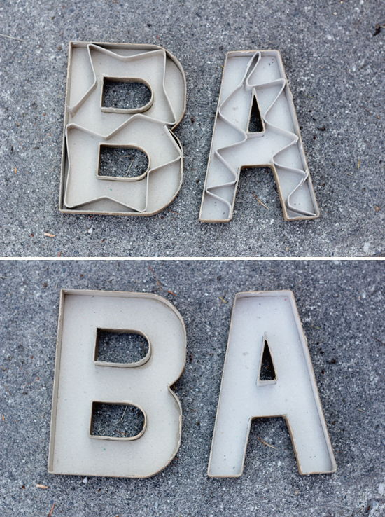 Cardboard letters from the craft store used as molds for concrete