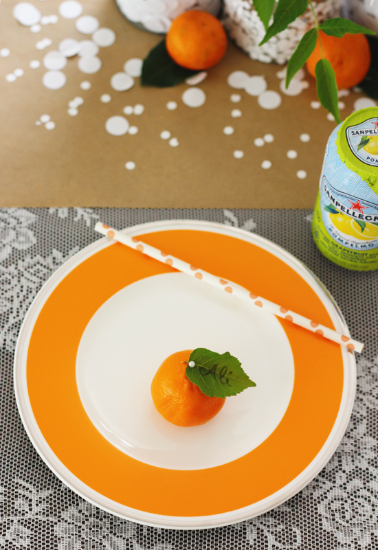 A casual summer table with citrus