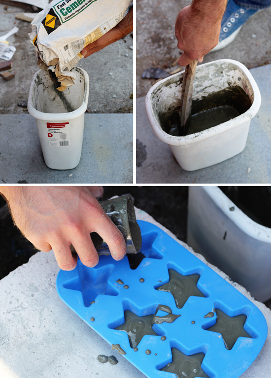 Pour cement in silicone molds to make DIY magnets