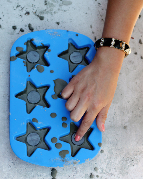 DIY cement magnets in a silicone mold