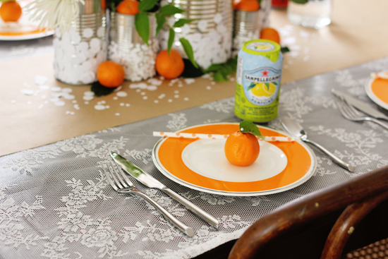 Oranges and lace: a simple summer table