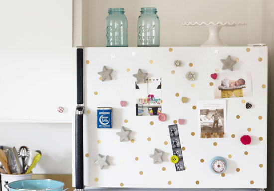 Fridge with polka dots (from gold contact paper) added