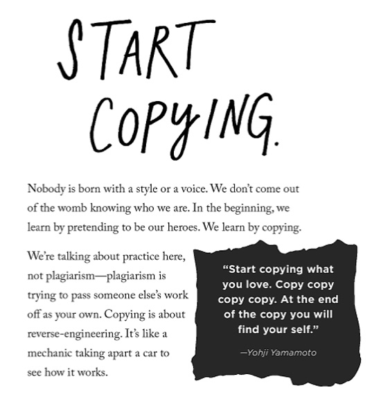 Start copying (and other advice for creatives)
