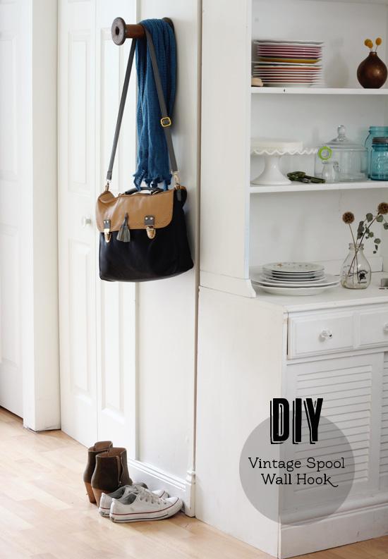 DIY vintage spool wall hook