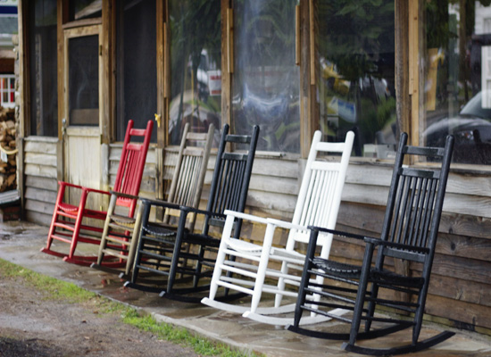 Rocking chairs all in a row