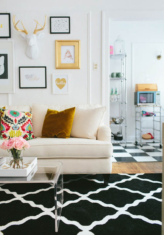 Beautiful living room with lots of color and feminine touches