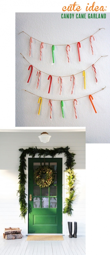 Cute idea: candy cane garland! Love the bright green door too