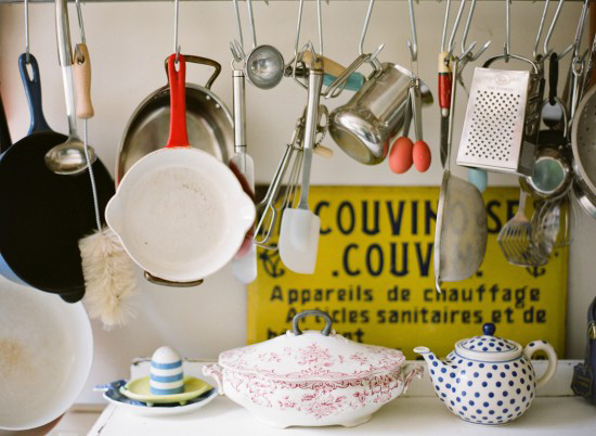 Hang pans and utensils from s-hooks in the kitchen