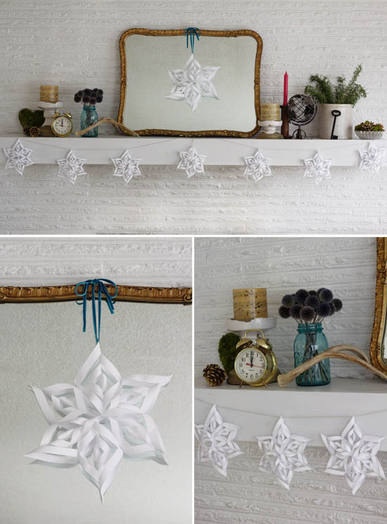 3D snowflake garland - DIY instructions
