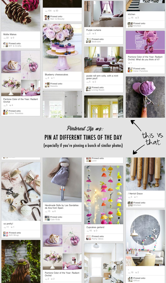 Pinterest tip #9: Pin at different times of the day