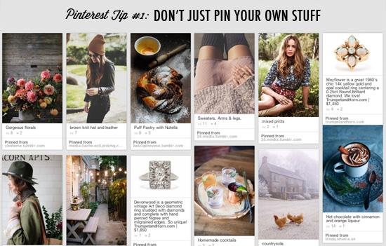 Pinterest tip #1: Don't just pin your own stuff