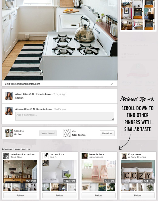 Pinterest tip #6: Scroll down to find other pinners with similar taste