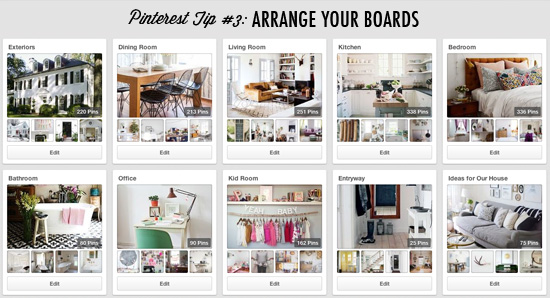 Pinterest tip #3: Arrange your boards in an order that makes sense