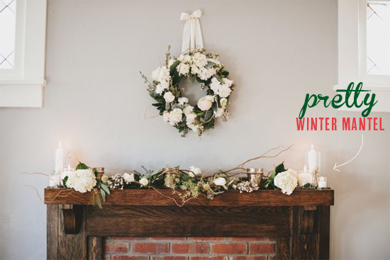 Pretty winter mantel
