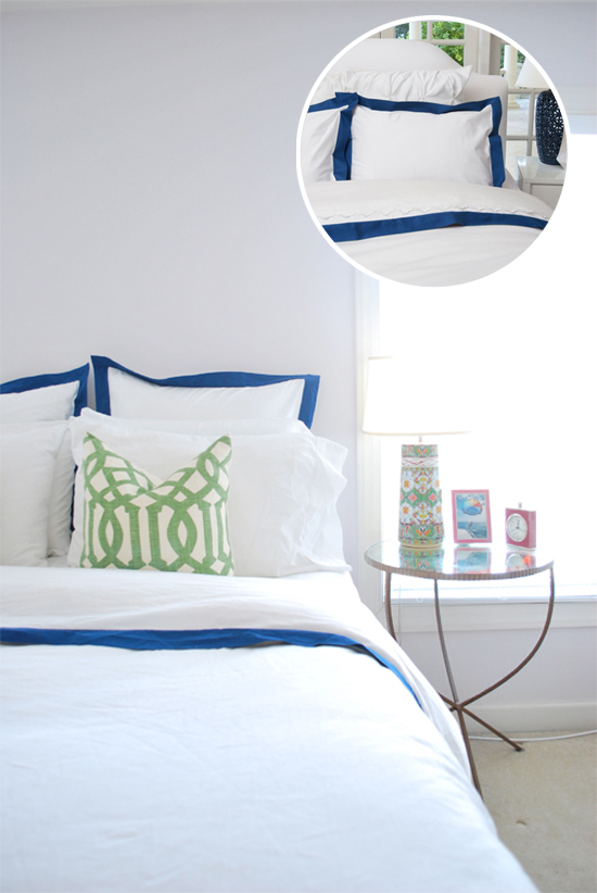 Bordered hotel style bedding looks crisp and classic.