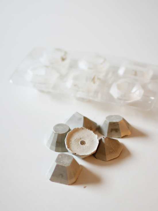 DIY concrete gemstone magnets -- pop them right out of a silicone ice cube tray