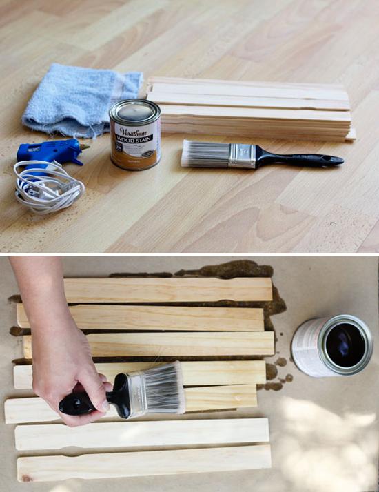 DIY miniature pallet made out of paint stir sticks
