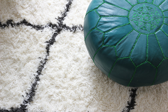 Teal Moroccan pouf